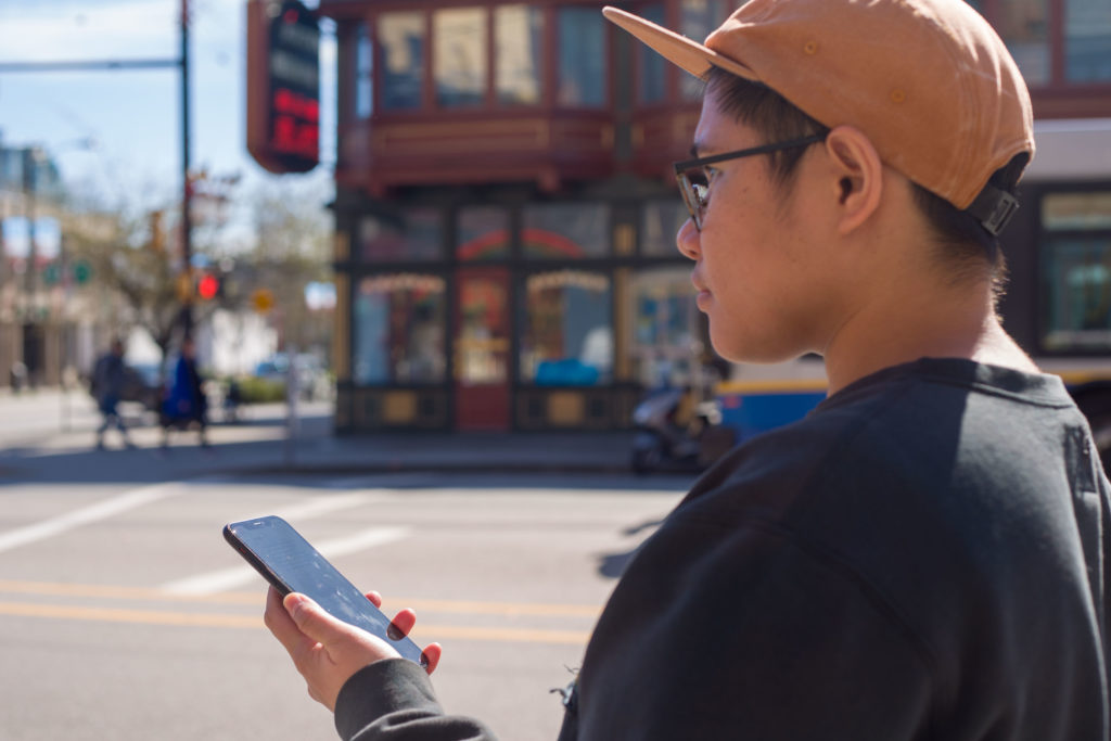 Georgia chatbot being used on streets of Chinatown by a person of colour